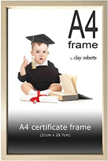 Clay:Roberts A4 Pine Photo Frame, Picture Frame, Certificate and Document Frame, Wall Mountable and Table Top
