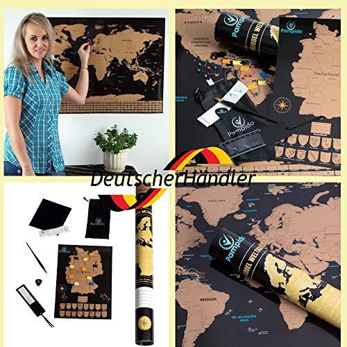 Weltkarte Zum Rubbeln (Deutsch) Weltkarte rubbeln Deutsch Landkarte frei rubbeln Rubbelkarte Deutschland Reise Poster Weltkarte rubbeln Scratch Map 80x60 a3 groß Deutschlandkarte Bunt und Gold Flagge