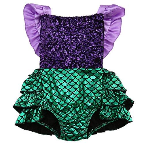Baby Girl Sequins Mermaid Bodysuit Romper Jumpsuit Outfit Sunsuit Clothes (6-12 Months, Purple&Green)
