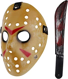 Halloween Costume Scary Horror Jason Mask with Machete for Adults