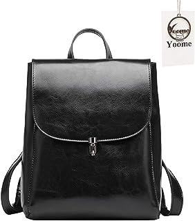 e7baaa25ab59c Yoome Kuh Leder Rucksack Geldbörse große Kapazität stilvolle Frauen Tasche  für Multi-Way-Umhängetasche Handtasche schwarz