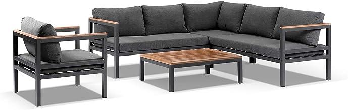 Harvey Outdoor Grey Aluminium Teak Corner Lounge with Arm Chair & Coffee Table, Slate Grey with Teak Timber - Outdoor Alum...