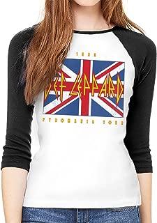 Def Leppard Union Jack 1983 Tour Women Baseball T Shirts 3/4 Sleeve Tee Tops