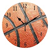 senya Round Basketball Pattern Wall Clock Battery Operated Accurate Sweep Movement,Decorative for Living Room, Bedroom, Office
