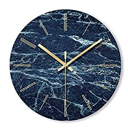 YUYANG Nordic Minimalist Marble Wall Clock Art Clock Ornament Restaurant Cafe Shop Circle Wall Clock Modern Design Home Decor