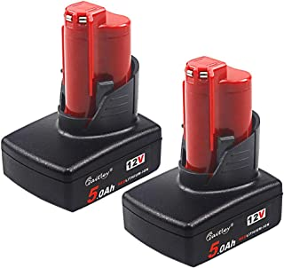 TenMore 12V 5Ah Replacement Battery Compatible with Milwaukee M12 12Volt 5.0AH 48-11-2420 48-11-2450 48-11-2460 Cordless Tools,2-Pack