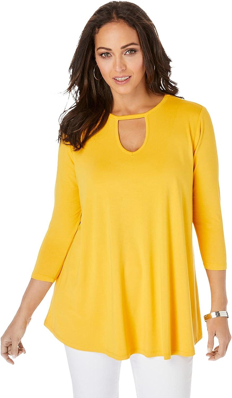 Jessica London Women's Plus Size Keyhole Swing Tunic Long Shirt