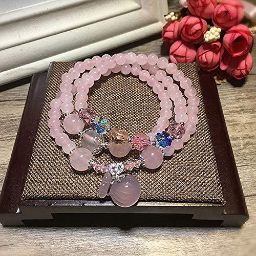 Ziyi Korn-Armband Natürliche rosa Kristalle Edelsteine Yoga Reiki Chakra Healing Stretch Perlenarmband Lotus Glück Lucky Charm-Anhänger