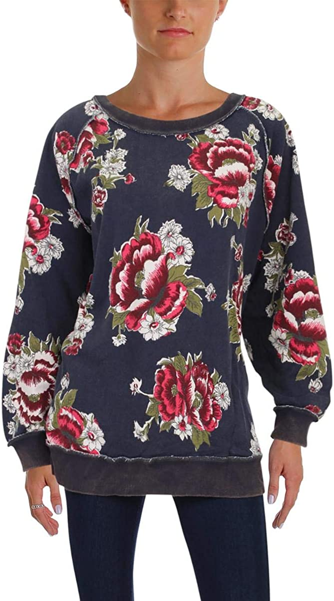 Free People Womens Go On Sweater Pullover service Department store Floral Get