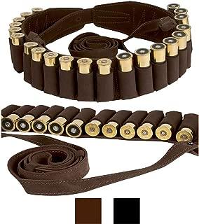 BRONZEDOG Handmade Leather Shotgun Shell Cartridge Belt Holder Bandolier, Buttstock Shell Holder 12 Gauge for Rifles, Hunting Ammo Pouch Bag, 12 ga Shotgun Shell Pouch Black Brown Khaki Grey