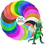 Tecboss 3D Pen/3D Printer Filament 20 Color 320 Feet, 1.75mm High-Precision Diameter PLA Filament Refills for MYNT3D 3D Pen, 4 Glow in The Dark, Bonus 250 Stencils eBooks