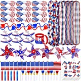 Quantity:Bulk PatrioticPartyFavors Toy Jewelry Assortments in Red White Blue includes: 6 sheets Patriotic TemporaryTattoo, 12 Pcs US AmericanFlagSticks, 18 Pcs BeadedNecklaces, 12 Pcs ShutterSunglasses, 6 Pcs PatrioticPinwheels 6 Pcs StickyH...