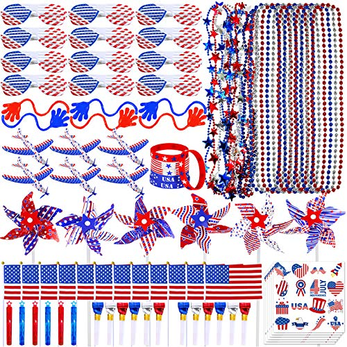 Bulk PatrioticPartyFavors Toy Jewelry Assortments AmericanUSA FlagBeadedNecklaces Tattoo Sunglasses Pinwheels Red White Blue for Patriotic 4th of July Memorial Day Kids Classroom Rewards Prizes