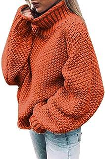 VJGOAL Jerséis para Mujer Invierno Otoño Moda Casual Suéter de Cuello Alto de Color Liso Manga Larga Cuello de Cisne Tops ...