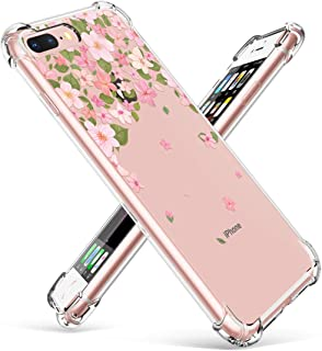 GVIEWIN Clear Case for iPhone 8 Plus/7 Plus, Flower Pattern Design Soft & Flexible TPU Ultra-Thin Shockproof Transparent Floral Cover, Cases for iPhone 7 Plus/8 Plus 5.5 Inch (Cherry Blossom/Pink)