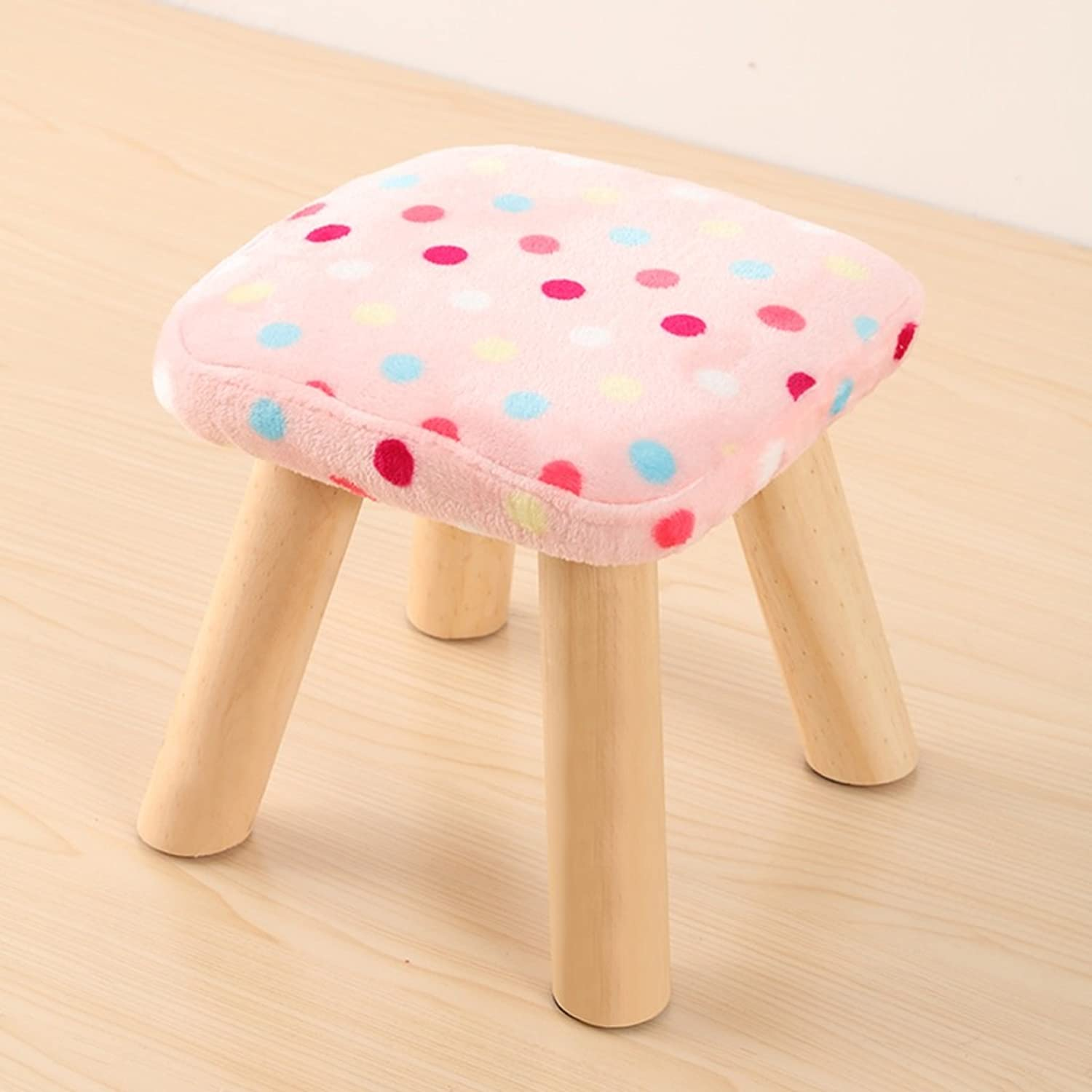 Pouf Footstool Square Footrest Seat Stool 4 Leg Stands Indoor Furniture(Pink, White, bluee, red and White) (color   1)