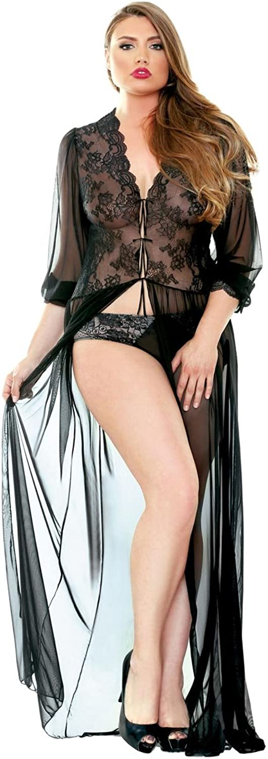 Plus Size Long Sleeve Lace Sheer Gown Robe