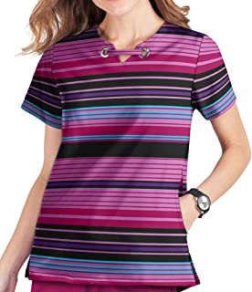 Butter-Soft Stretch Women's Cheerful Stripes Print Scrub Top by Uniform Advantage (3X-Large)