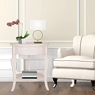 """GRAFZEAL Round Accent Table, Coffee Table Pine Frame Wood End Table, Sofa Side Table Nightstand Diameter 20.1"""" with Storage Shelf Mobile Snack Table, Stable and Sturdy, Easy Assembly, White SFZ50W"""