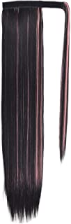 SEIKEA Clip in Ponytail Extension Wrap Around Long Straight Hair Extension 28 Inch Synthetic Hairpiece - Black (Pink Highlight)