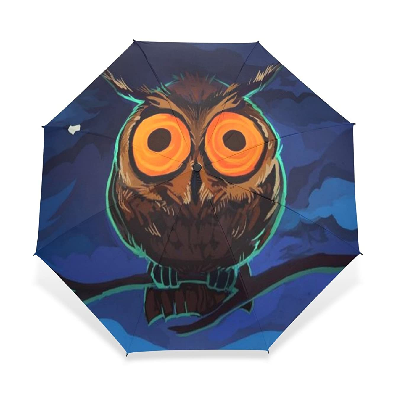 BAIHUISHOP Windproof Golf Umbrella, Compact for Travel By Easy Carrying Sports Rain Umbrella - Strong Frame Unbreakable Owls Orange Eyes Pattern