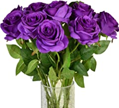 Amzali Artificial Flowers, Real Looking Fake Roses Long Stem Silk Artificial Rose Flowers Home Decor for Bridal Wedding Bouquet, Centerpieces Birthday Shower Party Garden floral Arrangement Purple