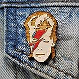 Star Man Lightning Bolt Pin   Hand-Painted Wood Rockstar Brooch
