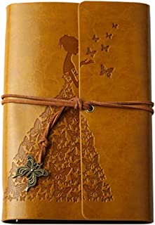 Vintage Leather Bound Spiral Journal Notebook Embossed Travel Diary Notebook with Retro Butterfly Pendant for Daily Use & Travel,100 Sheets