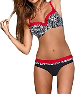UOKNICE Swimwear for Womens, Summer Beach Padded Push-up Bra Set Bathing Suit Beachwear Tankini Bikini