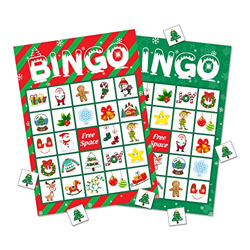 Christmas Bingo Game Party Supplies - Xmas Gifts for Kids 24 Players