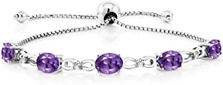 Gem Stone King 925 Sterling Silver Adjustable Diamond Tennis Bracelet 3.75 ct Oval Amethyst