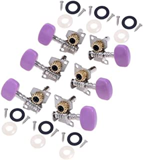 Kmise A2068 1 Set 3L3R Classical Guitar Machine Heads/Tuning Pegs Silver Plate Purple Button