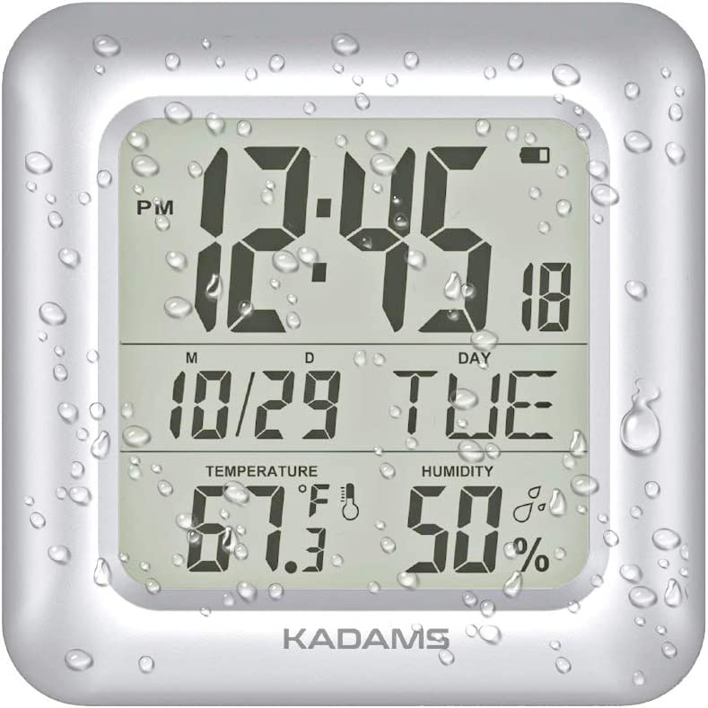 Fort Worth Limited time cheap sale Mall KADAMS Large Digital Bathroom Shower Clock for Wall Waterproof