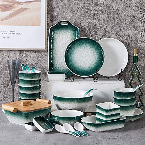 GAXQFEI Juego de vajilla creativa de 42 piezas, vajilla de la serie Stone Grain Juego de servicio completo Los juegos de platos de comedor incluyen plato/ensaladera/bandeja para h
