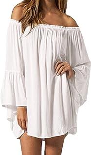 34aadc7788 ZANZEA Women's Sexy Off Shoulder Chiffon Lace Ruffle Sleeve Blouse Mini  Dress