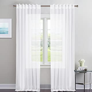 NICETOWN White Sheer Curtains Voile Draperies - Rod Pocket & Back Tab Sheer Window Treatment Voile Curtain Panels Patio Door Window Covering for Living Room (1 Pair, 54 Wide x 84 inches Long)