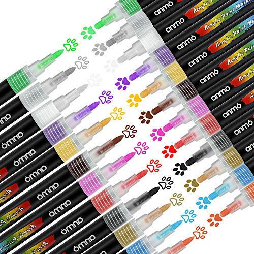 Acrylstifte Marker Stifte, 12 Farben Wasserfest Paint Marker Set Art Filzstift Acrylic Painter 0,7mm + 3,0mm Strichstärke für Glasmalerei,Garten,Papier,Metall, Stoffmalerei, Fotoalbum und DIY-Handwerk