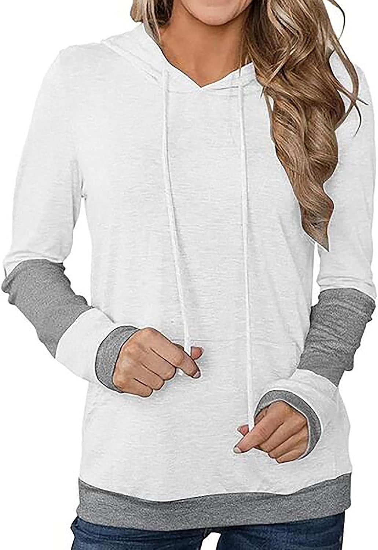 Color Block Hoodie for Women Long Sleeve Sweatshirt Drawstring Basic Shirt Trendy Comfy Pullover