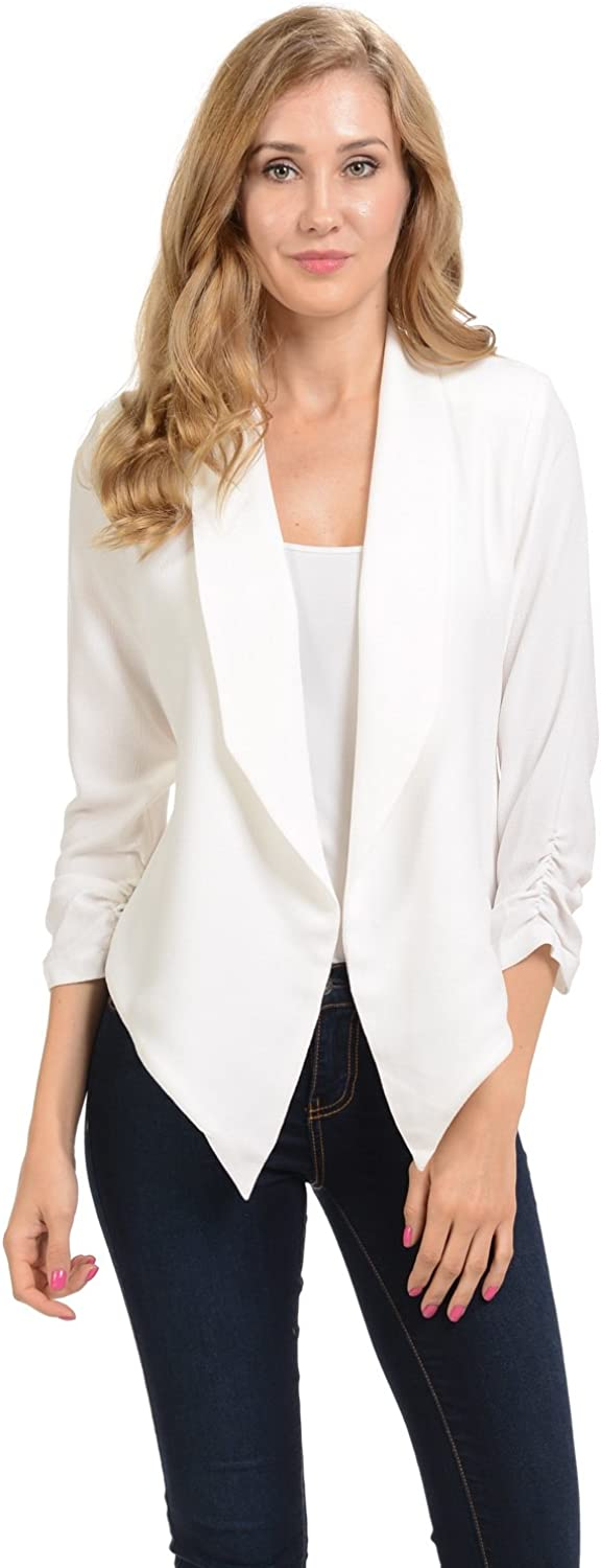 Auliné Collection Womens 3/4 Sleeve Casual Work Lined Open Front Cardigan Blazer