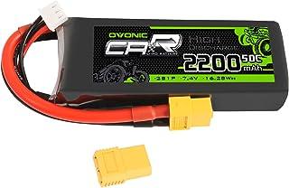 OVONIC Batería Lipo RC 2200mAh 7.4V 2S 50C con Conector XT60 Compatible con RC Traxxas 1/16 E-Revo VXL Summit Slash Losi 1/14 Mini 8ight y RC Cars