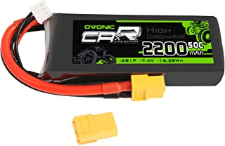 Ovonic 2200mAh 7.4V 2S 50C LiPo Battery Pack with XT60 Plug Compatible with Rc Traxxas 1/16 E-Revo VXL Summit Slash Losi 1/14 Mini 8ight and Rc Cars