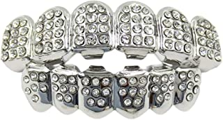 Exceart Hip Hop Teeth Caps Rhinestone Vampire Fangs Grillz Mouth Grills For Dance Carnival Party Favors (Bottom Top Teeth)...