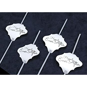 36pc Wedding Sparklers Tags -Happily Ever After - Cream Color Shimmer Paper