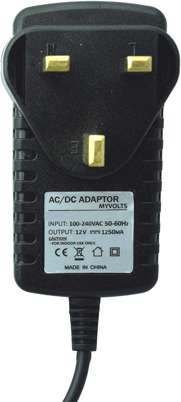 MyVolts UK power lead 12V plug compatible with Yamaha Keyboard PSS-470
