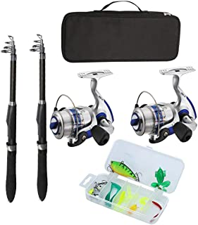 Fishing Pole Combo Set, All-in-one 2.1m/6.89ft Full Kit 2PCS Collapsible Rods + 2PCS Spinning Reels + FishingFishing Pole ...