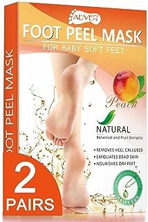 ماسک لایه بردار پا - 2 جفت - ماسک مخصوص لایه برداری و مغذی پا برای ترک های پینه و پاهای خشک - 100٪ مواد طبیعی - دریافت پای نرم کودک بدون درد - برای خانم ها