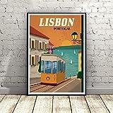 WSHIYI Lisboa Portugal Vintage Canvas Painting Poster Wall Art Pictures para Sala de Estar Decoración del hogar-50x70cm sin Marco