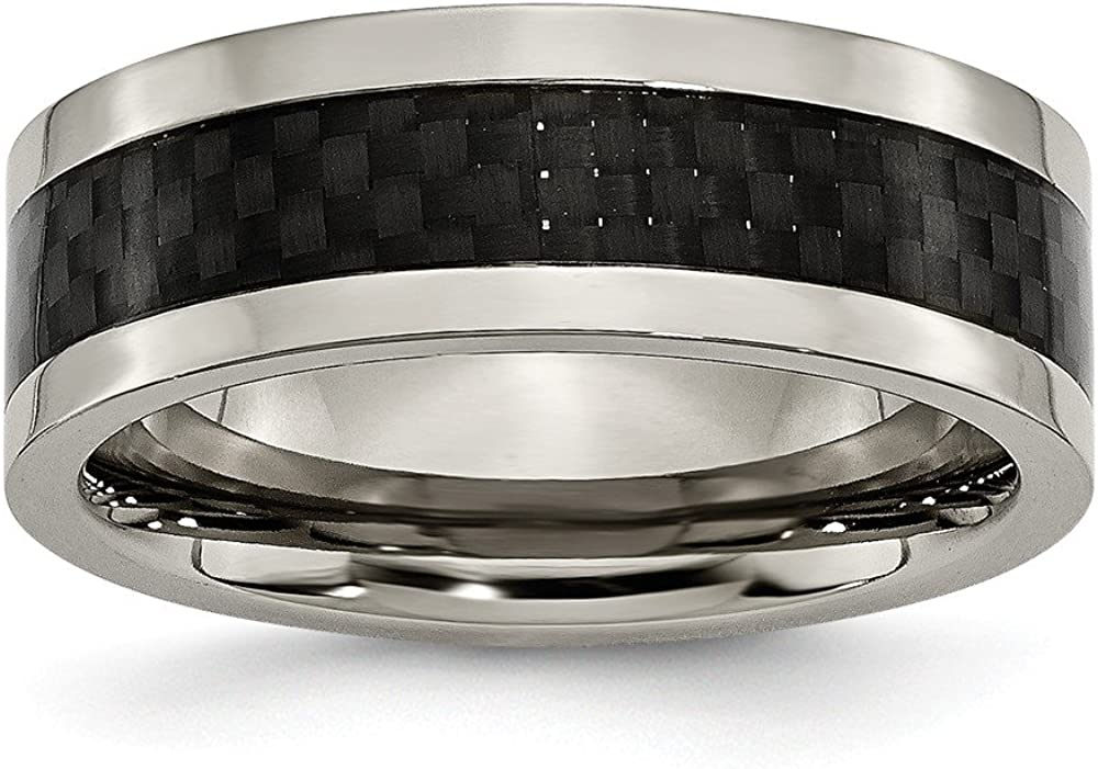 ICE CARATS Titanium Black Carbon Fiber Inlay 8mm Wedding Ring Band Type of Fashion Jewelry for Women Gifts for Her
