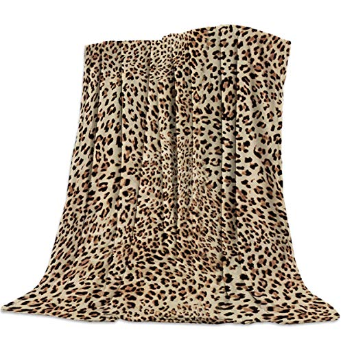 SIGOUYI Lightweight Flannel Fleece Blankets Reversible Cozy Microfiber All-Season Throw Blanket for Bed/Couch, 50x60 Inch Brown Leopard Print Animal Skin Textured Pattern