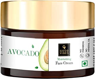 Good Vibes Avocado Moisturizing Face Cream - 50 g - Helps Prevent Loss of Moisture, Maintains Smooth Skin and Rich in Nutr...